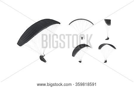 Blank Black Paraglider With Person In Harness Mockup, Different Views, 3d Rendering. Empty Gliding C