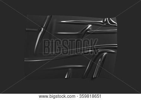 Blank Black Plastic Foil Wrap Overlay Mockup, Dark Background, 3d Rendering. Empty Bumpy Wrapper She