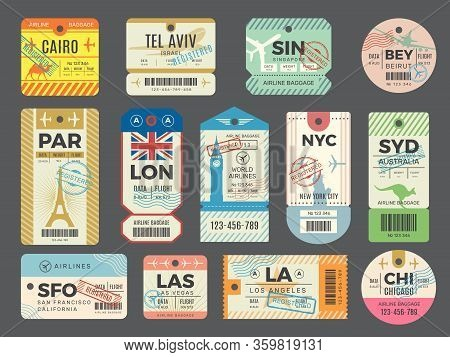 Baggage Retro Tags. Traveling Old Tickets Flight Labels Stamps For Luggage Vector Set. Luggage Tag T