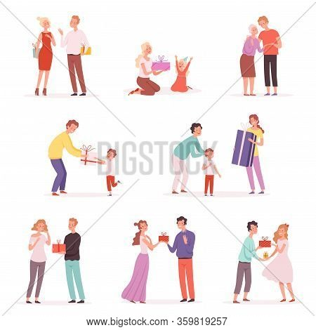 Couple Giving Gifts. Happy Children With Gifts Give Presenting At Party Vector Isolated Cartoon Pict