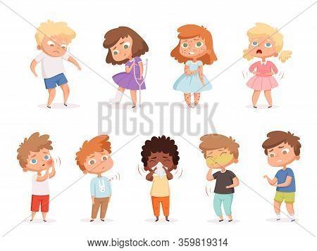 Unhealthy Kids. Sick People Coughing Illness Problems Health Vomiting Vector Illustration Set. Unhea