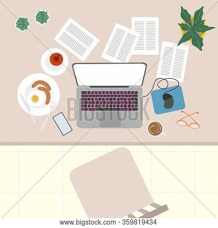 Top View Of Working Desk At Home. Covid-19 And Work From Concept.