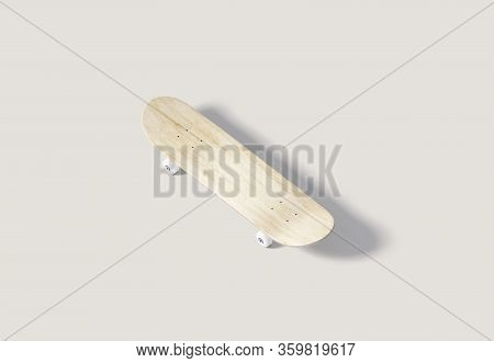 Blank Wood Skateboard With Wheels Mock Up, Top View, 3d Rendering. Empty Foot Skateboarding Panel Mo