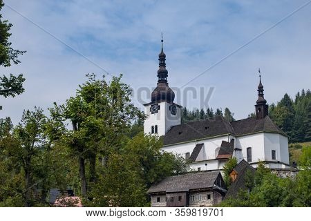 Church in Spania Dolina, old mining town in Slovakian mountains