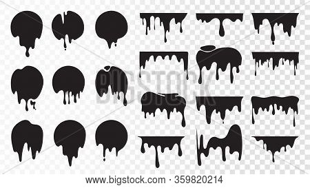 Black Dripping Ink. Isolated Spots Of Paint, Floating Oil Blots Vector Set. Blob Paint, Ink Splatter