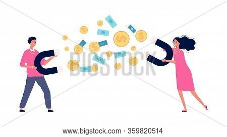 Money Magnete. Business Woman And Man With Wealth. Rich People, Isolated Happy Girl Boy With Coins,