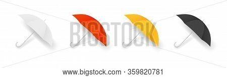Realistic Umbrella. Colorful Autumn Accessories, Isolated Umbrellas Vector Set. Umbrella Protect And