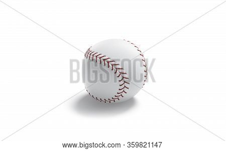 Blank White Baseball Ball With Red Seam Mockup, Isolated, 3d Rendering. Empty Leather Fastball For A
