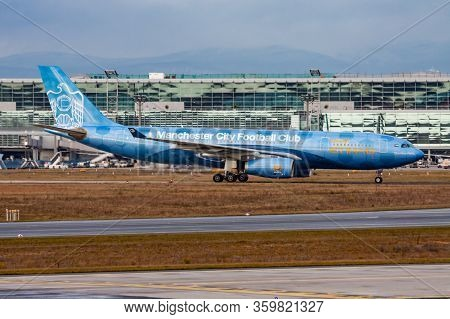 Frankfurt / Germany - December 4, 2012: Etihad Airways Manchester City Special Livery Airbus A330-20