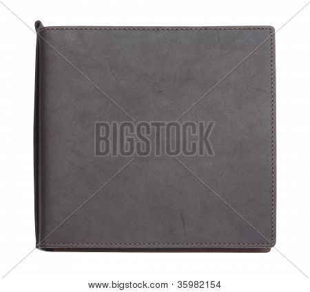 Black Leather Note Book On White Background With Clipping Path