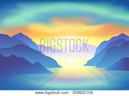 Sunrise With Majestic Colorful Clouds Above The Mountain Lake. Vector Illustration, Eps 10.