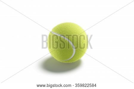 Blank Green Tennis Ball Mock Up, Side View, 3d Rendering. Empty Round Fibrous Matchball For Tenis To