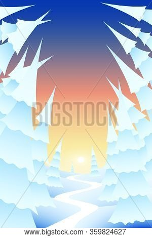 Vector Illustration. Carpathian Snow Covered Spruce Forest At Sunset Time. Majestic Winter Landscape
