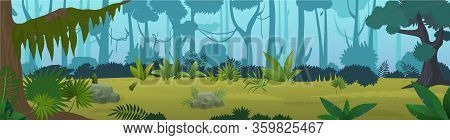Edge Tropical Jungle Panorama Cartoon Vector Illustration Background. Wild World Of Nature Forest, D