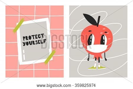 Cartoon Character In A Protective Face Mask. A Leaflet That Says Protect Yourself . A Call To Protec