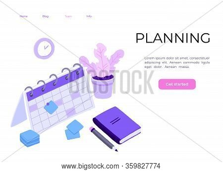 Isometric Planning Business Task Schedules For The Week. Online Business Schedule, Planning Schedule