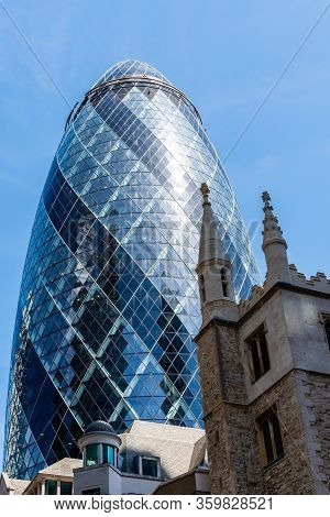 London, Uk - May 14, 2019: Low Angle View Of Office Buildings In The City Of London Against Blue Sky