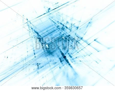 Abstract blue on white background element. Fractal graphics 3d illustration. Science or technology concept.