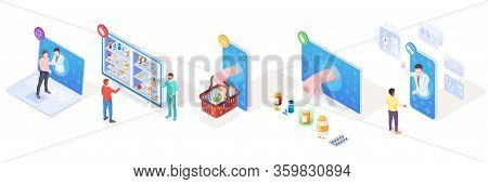 Set Of Isometric Vector Signs For Online Medical Support And Pharmacy, Drugs Delivery And Doctor Con