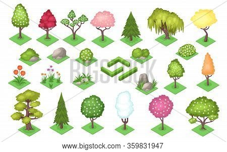 Cartoon Trees And Bush Fence, Stones And Grass At Summer Or Spring Season. Nature Landscape Element
