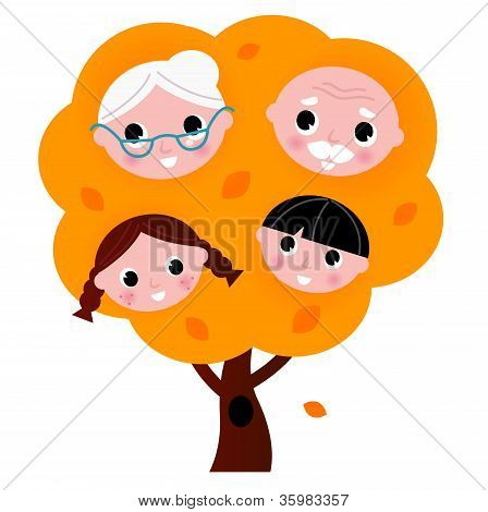 Autumn Family Tree Isolated On White