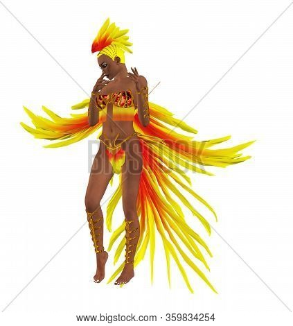 Digitally Rendered 3d Woman Wears Carnival Costume Made Of Red Yelow Feathers Illustration.