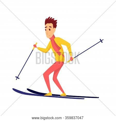 Vector Men Skier. Male Skiing Design Element Isolated On White Background. Winter Sportsman On Ski R
