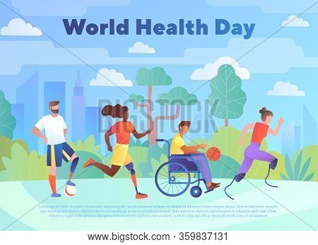 World Health Day Concept. Disabled Multiracial People With Leg Prosthesis Running And Riding Wheelch