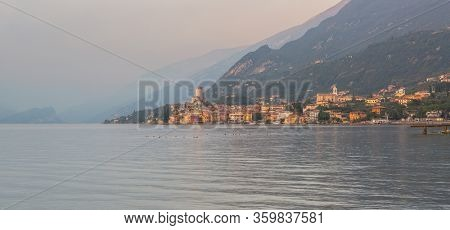 Scaliger Castle in Malcesine over the Garda lake at sunset, Italy