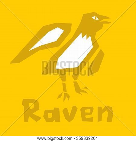 Raven Icon, Flat Style Vector Clipart. Logo Mark Template. Thick Linear Raven Outline Image. Isolate