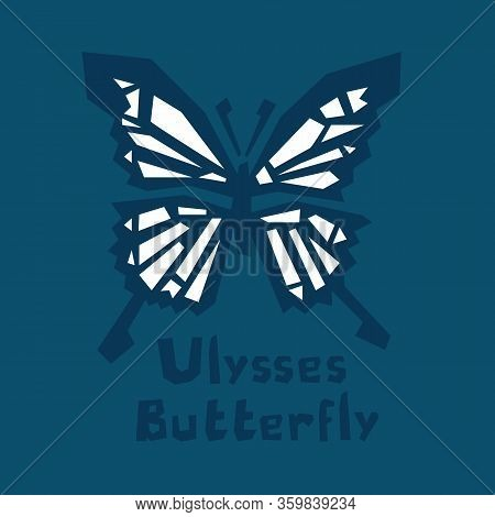 Ulysses Butterfly. Papilio Ulysses. Blue Mountain Butterfly Or Blue Mountain Swallowtail Isolated On