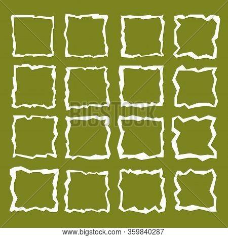 Square Window Frame. Irregular Broken Line. White On Green Background. Kinks, Warped Square Frames.