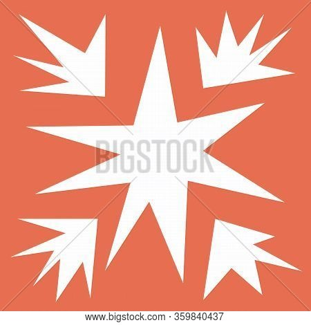 Starry Modern Square Tile, Geometry Shapes In Warm Tone. Irregular Shapes On Light Orange Background