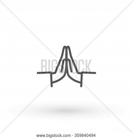 Hands Folded In Prayer Line Icon. Editable Stroke Outline Hands Folded In Prayer Vector Icon For Web