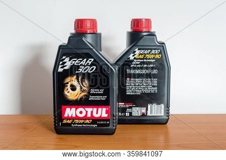 Pruszcz Gdanski, Poland - April 3, 2020: 2 Bottles Of Motul Gear 300 75w-90 Gear Oil. Transmission A