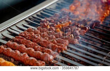 Tikka, Shish & Kofta Kebabs On Charcoal Barbeque