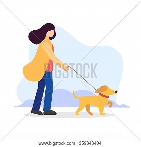 Pet Sitting. Woman With Dog On Leash. Pet Owner. Obedient Animal. Vector Isolated Flat Cartoon Moder