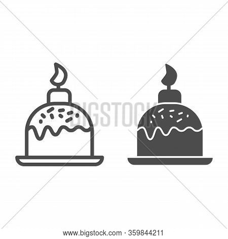 Easter Cake On Plate With Candle Line And Solid Icon. Traditional Paschal Dessert Outline Style Pict