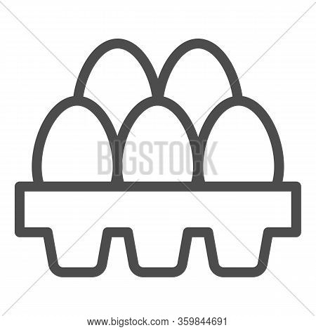 Packaging Of Fresh Eggs Line Icon. Five Egg In Carton Package Outline Style Pictogram On White Backg