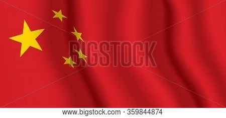 Vector Flag Of China. Peoples Republic Of China Waving Flag Background.