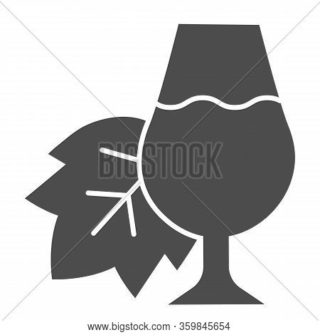 Grape Leaf And A Glass Of Wine Solid Icon. Full Wineglass With Leaf Glyph Style Pictogram On White B