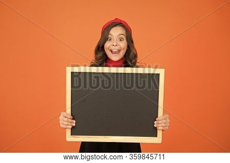 Your Education Your Way. Happy Small Child Hold Blank Blackboard. Elementary School Education. Schoo