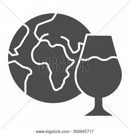 Globe And Glass Of Wine Solid Icon. Imported Wine With Planet Glyph Style Pictogram On White Backgro