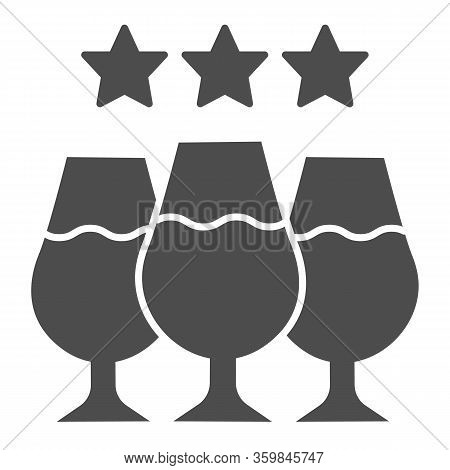 Expensive Wine Tasting Solid Icon. Sparkle Under Finest Wine Glasses Glyph Style Pictogram On White