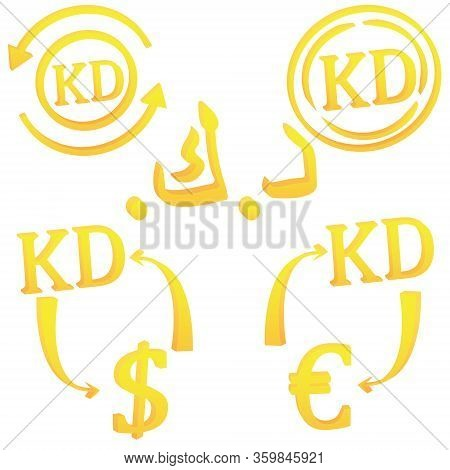 Kuwaiti Dinar Currency Symbol Icon Of Kuwait Vector Illustration On A White Background
