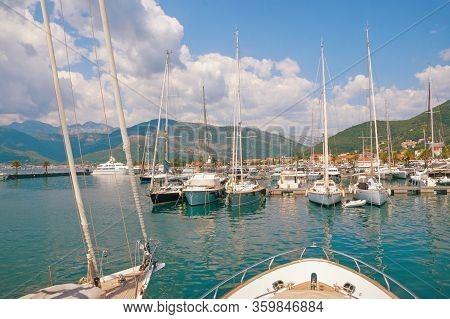 Yacht Marina. View Of Marina Of Porto Montenegro On Sunny Summer Day.  Montenegro, Adriatic Sea, Bay