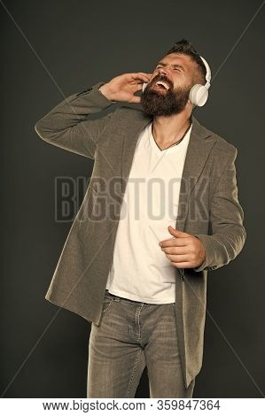 With Song Through Life. Bearded Man Do Vocal On Song Grey Background. Hipster Sing Song Playing In H