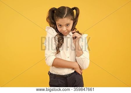 Shy Beauty. Time To Study. Ready For Lesson. School Fashion. International Childrens Day Concept. Mo