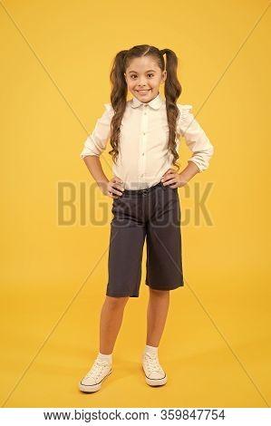 Modern Schoolgirl. Schoolgirl Happy Smiling Pupil Long Hair. Beginning Of Academic Year. Adorable Sc