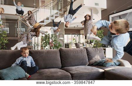 Smiling crazy kids having fun at home